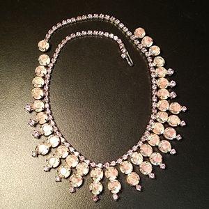 Vintage Kramer Pink Givre Glass Necklace
